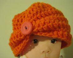 Crochet hat, crochet Baby Hat, baby hat, hat, hat for baby - pumpkin (H23A)