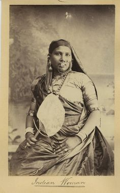 Indian+Woman+In+Traditional+Dress+With+a+Fan+in+Hand+-++c1880s