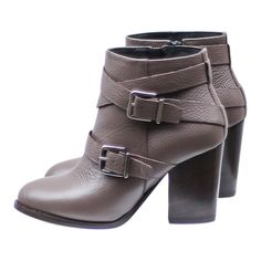 Portamento Angie Taupe Ankle Boots: Handmade in Italy by Portamento, these taupe leather ankle boots feature buckle detailing, a high heel, side zip, leather lining and padded cushion insole.