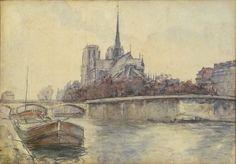 Pierre-Jacques Pelletier, Vue de Notre-Dame de paris depuis les quais - Watercolour, 31x45cm on ArtStack #pierre-jacques-pelletier #art