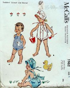 1950s Toddlers Sunsuit and Bonnet Pattern