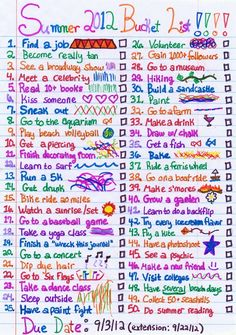 Summer bucket list!!(: