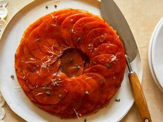 Our favorite fall vegetable takes the place of traditional apples in this gorgeous tarte tatin that has savory accents of fresh herbs and Parmesan. Thanksgiving Side Dishes, Thanksgiving Recipes, Holiday Recipes, Winter Recipes, Vegetable Side Dishes, Vegetable Recipes, Vegetarian Recipes, Vegan Meals, Tart Recipes