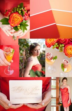 Coral & Golden Orange  Photos by www.reesemooreweddings.com