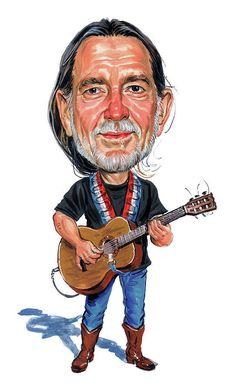 Cartoon Faces, Funny Faces, Cartoon Art, Caricature Artist, Caricature Drawing, Funny Caricatures, Celebrity Caricatures, Willie Nelson, Heavy Metal