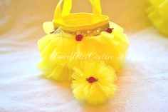 Beauty & The Beast Inspired Tutu Tote & Tulle Hair Bow Poof Gift Set - Party Favor
