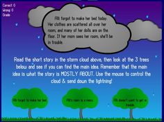 MAIN IDEA~ Students read the story in the storm cloud, then strike the tree (containing the main idea) with lightning. Fun, interactive online resource!