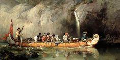 1869 et 1879 grands canots d'écorce de bouleau ou rabaska, tableaux de Frances Anne Hopkins.