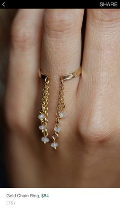 Gold Chain Ring Gold Moonstone Ring Drop chain Ring by MinimalVS Hand Jewelry, Jewelry Rings, Jewelery, Silver Jewelry, Jewellery Diy, Wooden Jewelry, Etsy Jewelry, Jewelry Sets, Stylish Jewelry