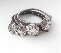 Etsy listing at https://www.etsy.com/listing/223369841/greek-leather-bracelet-silver-beaded