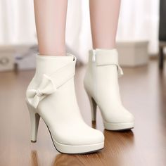 Bow Tie Women Mary Janes Bowknot Platform Party High Heels Ankle Boots Shoes