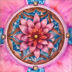 """""""The Lotus - Mandala Of Health"""" -Painting on board (mix technique: dry pigment, watercolor, ink, oil ) by Anna Ewa Miarczynska"""