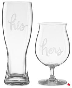 For the beer lovers, gift the newlyweds these his & her pilsner glasses from kate spade new york!