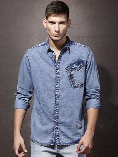 c58bb88d3f Buy RDSTR Blue Washed Denim Casual Shirt - Shirts for Men 1116754