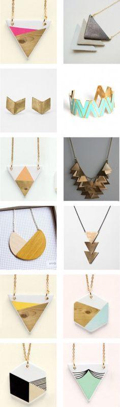 Loving geometric jewelry right now! These would be fun to Ceramic Jewelry, Wooden Jewelry, Polymer Clay Jewelry, Leather Jewelry, Handmade Jewelry, Bijoux Design, Schmuck Design, Jewelry Design, Diy Fashion