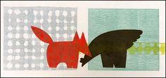 """Animal Farm"" pochoir print, collaboration by Larry Calkins and Becky Street."