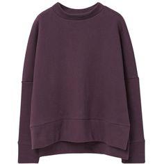 Mango Cotton Sweatshirt, Dark Purple ($43) ❤ liked on Polyvore featuring tops, hoodies, sweatshirts, sweaters, purple sweatshirt, long sleeve cotton tops, long sleeve tops, boxy top and long sweatshirt