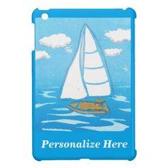 Sailboat Personalized iPad Case; Abigail Davidson Art; ArtisanAbigail at Zazzle
