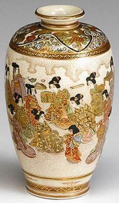 Satsuma Pottery; Japanese, Vase, Shouldered, Figures in Landscape, 5 inch.