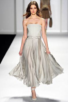 J.Mendel (beautiful gray and although strapless is boring, the length of this gown makes it special and different)