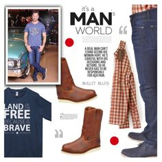 It's A Man'sDenim World with Bullet Blues and All American Made Clothing by bulletblues on Polyvore featuring Bullet, men's fashion and menswear