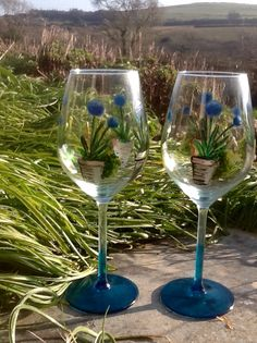 Agapanthus wine glasses hand painted @kayceedesign.com