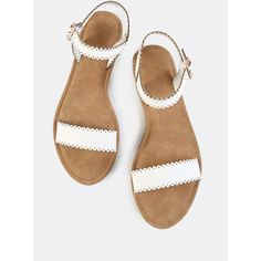 Scalloped Trim Flat Sandals WHITE - Sandals Shoes - Ideas of Sandals Shoes - Color: White Upper Material: Faux Leather Outsole Material: Rubber Toe: Open Toe Accessories: Cut Out Scallop Strap Type: Ankle strap Style: Casual Ankle Strap Sandals, Flat Sandals, Ankle Straps, Sandal Heels, Leather Sandals, Shoes Flats Sandals, Gladiator Sandals, Sandals 2018, Summer Sandals