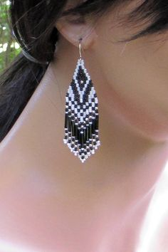 Black and White Seed Bead Earrings - Beadwork Earrings - Lightweight Long Earrings