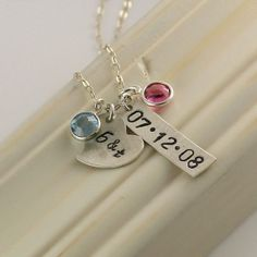 Sterling Silver Anniversary Necklace, Handstamped Date, Keepsake Necklace, Wedding Date, Love, Couple Necklace, Anniversary Gift Birthstone