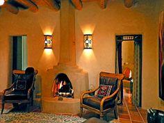 living room featuring kiva fireplace