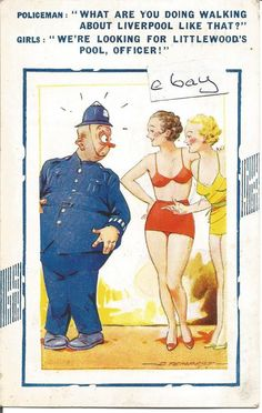BAMFORTH COMIC POSTCARD No 167 LITTLEWOODS POOLS LIVERPOOL DATED 1938 POLICEMAN