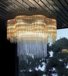 Design pendant lamp (glass, handmade) DIADEMA 01 by Romani Saccani Vetreria Vistosi