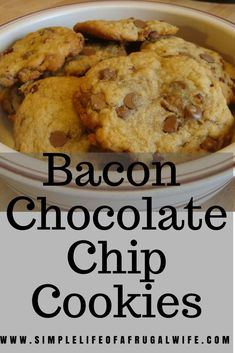 Bacon Chocolate Chip Cookies.  Make these with bacon for a sweet and salty combination, or make it without bacon for a classic chocolate chip cookie!