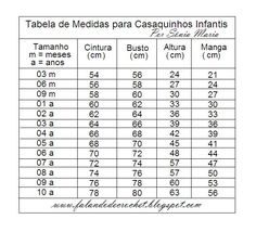 TABELA DE MEDIDAS DE CASAQUINHOS PARA CRIANÇAS DE 3 MESES A 10 ANOS 304d34db958