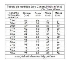 TABELA DE MEDIDAS DE CASAQUINHOS PARA CRIANÇAS DE 3 MESES A 10 ANOS