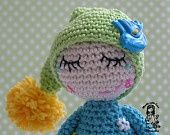 Crochet elf with dew drops on the lashes - pdf pattern.