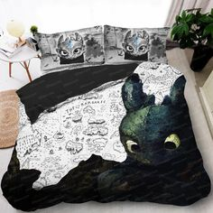- Glorious Night Fury Bed Set - White Toothless King Queen Size Duvet Cover - How to train your dragon Pillow Cases - Glorious . Queen Size Duvet Covers, Queen Bedding Sets, Comforter Sets, King Comforter, Girl Bedding, Kings & Queens, Dragon Trainer, Night Fury, How To Train Your Dragon