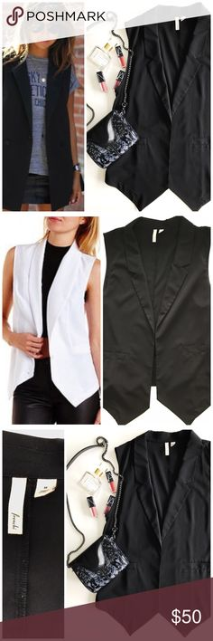 Sleeveless black vest Awesome vest, super stylish, worn by many fashion bloggers. You can see it modeled in white, above. Perfect layering piece, material is soft and doesn't winkle easily. Purchased from Nordstrom. NEVER WORN. New without tags! Nordstrom Jackets & Coats