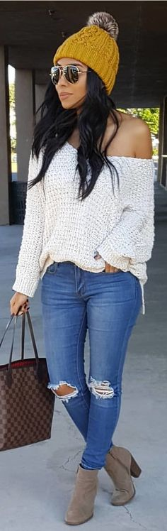 #winter #outfits white off-shoulder sweater