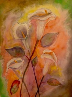 """Lilies of the Valley"". Watercolor on Canson paper, 18x24 inches, by Hugo La Rosa."