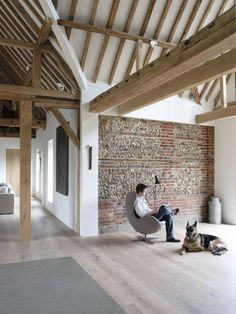 Renovation grange, building renovation, exposed beams, cosy corner, brick w
