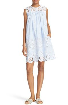 Main Image - Sea Exploded Eyelet Stripe Shift Dress