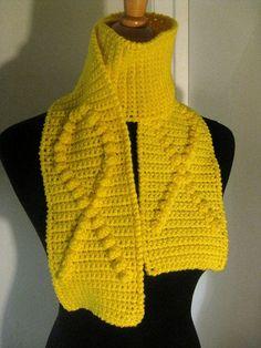 awareness crochet scarf yellow
