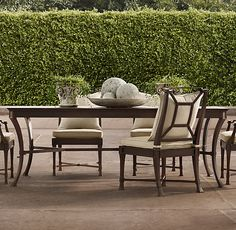 RHu0027s Antibes Rectangular Dining Set Painted Metal (Set Of Table 2 Armchairs  And 4 Side Chairs):Impeccably Made Outdoor Furniture Rendered In Rustproof  Cast ...
