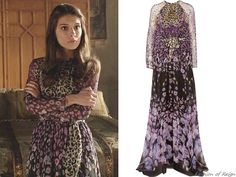 """In the episode 2x15 (""""Forbidden"""") Lady Kenna wears this sold out Temperley London Orchidea Printed Silk-Chiffon Gown."""
