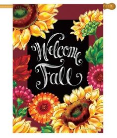 Decorative Fall Sunflowers House Flag Featuring A Beautiful Floral Bouquetu2026