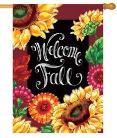 Welcome Fall Sunflowers Chalkboard House Flag