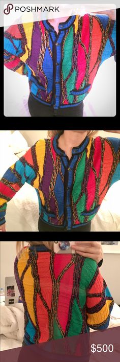 Coogi Australia button front crop sweater XS small Coogi Australia button front crop sweater cardigan fits best size extra small petite XS to Small 100% mercerized cotton - authentic vintage coogi sweater from the 90s aka biggie smalls or Cosby 3D geometric knit - should have slight leisure loose slouchy oversized fit - MAKE AN OFFER OR BUNDLE TO SAVE - thx for shopping RAPJAXX COOGI Sweaters Cardigans