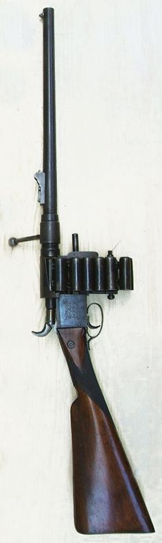 The Treeby Chain Gun.   Invented by a man named T. W. Treeby in 1855, the Treeby Chain gun was an attempt to create a viable multi-shot firearm in an age when most firearms were single shot muzzleloaders. http://peashooter85.tumblr.com/page/7
