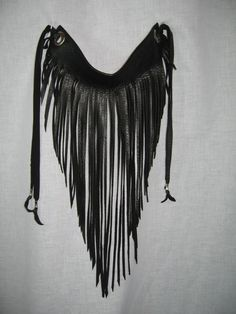 Bib Necklace Black Leather Fringe Necklace by Vacationhouse
